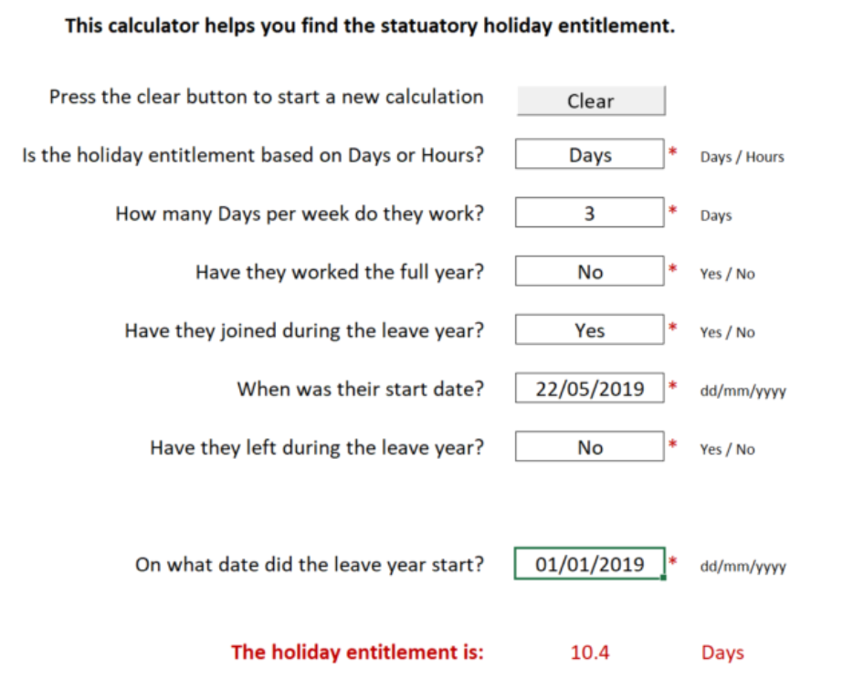 Statuatory holiday entitlement calculator for calculating employee leave