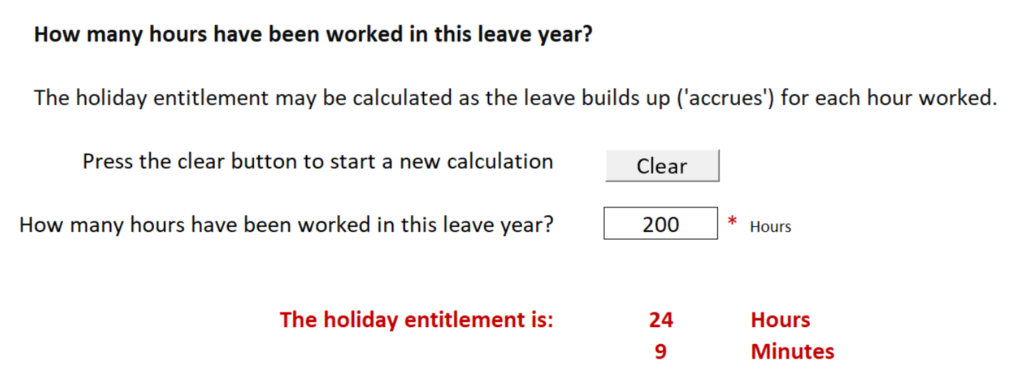 Holiday entitlement calculator for calculating casual or irregular employee leave